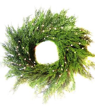 Handmade Holiday Christmas 24'' Cypress & White Berry Wreath