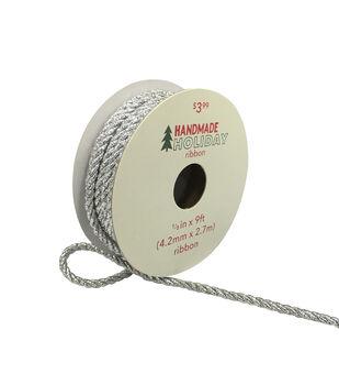 Handmade Holiday Christmas Metallic Twist Cord Ribbon 1/6''x9'-Silver