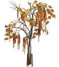 Amaranthus & Birch Leaves in Glass Vase 35\u0027\u0027-Mustard & Tan