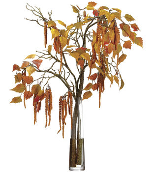 Amaranthus & Birch Leaves in Glass Vase 35''-Mustard & Tan