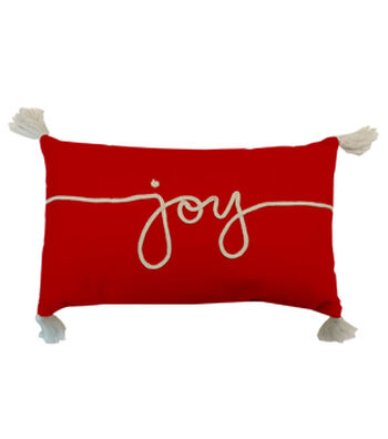 Maker's Holiday Christmas Lumbar Pillow-Joy on Red