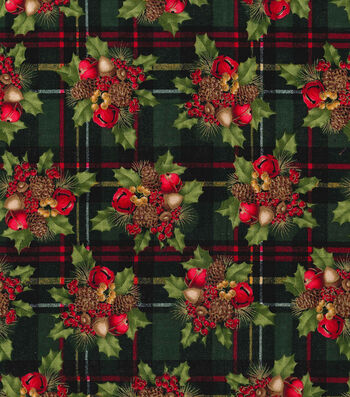 """Keepsake Calico Holiday Cotton Fabric 44""""-Berries and Bells on Plaid"""