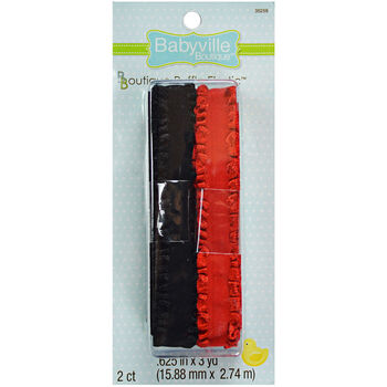 """Babyville Boutique 0.63"""" x 3 Yds Ruffled Elastic Red Black"""