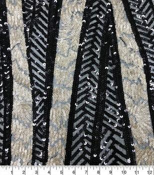Casa Embellish Ember Linear Deco Sequin Fabric-Black/Gold