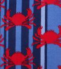 No-Sew Throw Fleece Fabric 72\u0022-Blue Striped Crabs