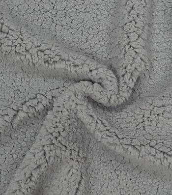 """Fashion Faux Fur Fabric 57""""-Lt Grey Sherpa"""