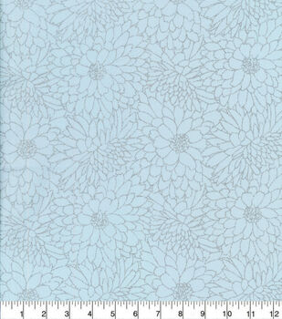 Keepsake Calico Cotton Fabric-Lined Floral Light Blue Glitter