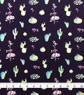 Doodles Juvenile Apparel Fabric-Floral Cacti on Navy