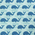 Blizzard Fleece Fabric-Whales in Line on Blue