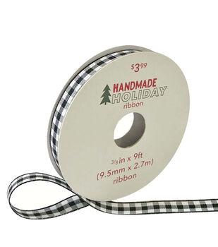 Handmade Holiday Christmas Ribbon 3/8''x9'-Black & White Gingham Checks