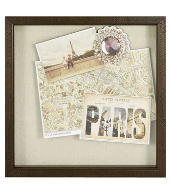 Wood Shadowbox Frame 12''x12''-Debossed Wood with Linen Farmhouse