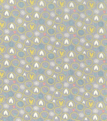 Easter Spring Pastels Cotton Fabric-Ears Grey
