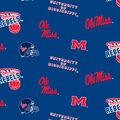 University of Mississippi Rebels Fleece Fabric -Allover
