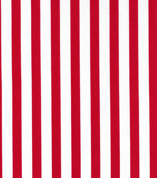Christmas Cotton Fabric-Large Red & White Stripes