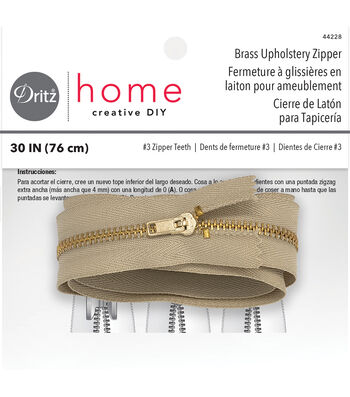 "Dritz Home Brass Zipper Chain 0.56""x30"""