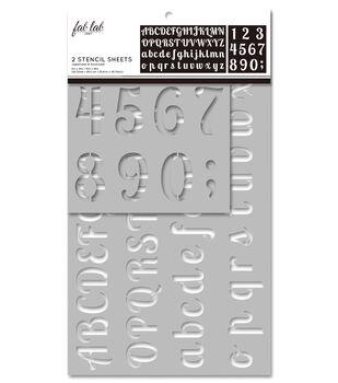 Fab Lab 2 pk Stencil Sheets-Uppercase & Lowercase Alphabet