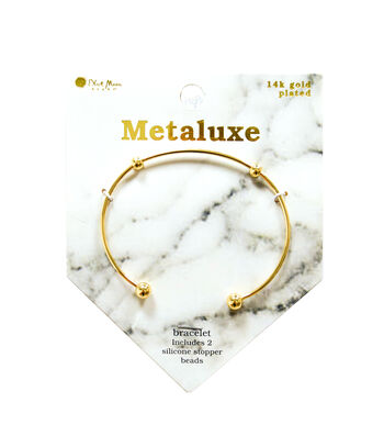 Metaluxe Bangle Bracelet with Silicone Stopper Beads-Gold