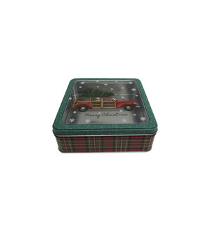 Handmade Holiday Christmas Medium Square Cookie Tin with Clear Top-Truck