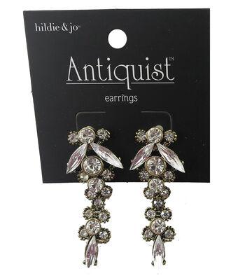 hildie & jo Antiquist Gold Drop Earrings-Rhinestones
