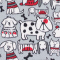 Blizzard Fleece Fabric-Red & Gray Sketched Pup Friends