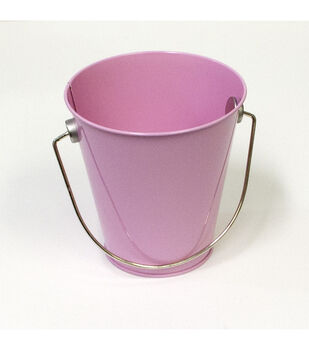 Hampton Art Small Tin Pail-Pastel Pink