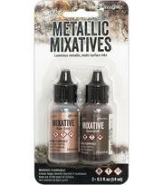 Tim Holtz 2 pk Alcohol Ink Metallic Mixatives-Rose Gold & Gunmetal, , hi-res