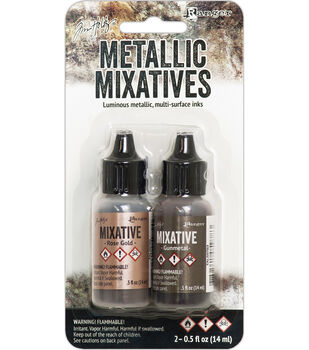 Tim Holtz 2 pk Alcohol Ink Metallic Mixatives-Rose Gold & Gunmetal