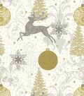 Christmas Cotton Fabric-Metallic Reindeer & Ornaments