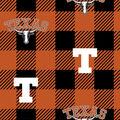 Texas Longhorns Fleece Fabric-Buffalo Plaid