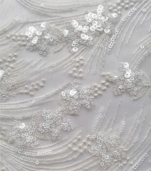 Sequin Mesh Bridal Fabric-White Embellished