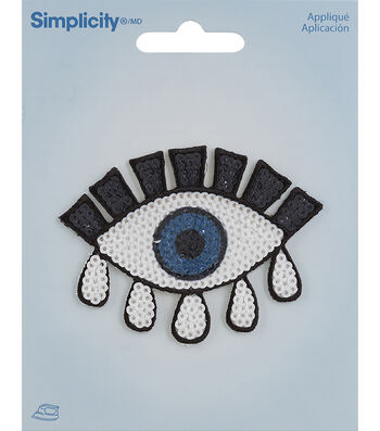 Simplicity Eye Iron-on Applique with Sequins-Black, Blue & White