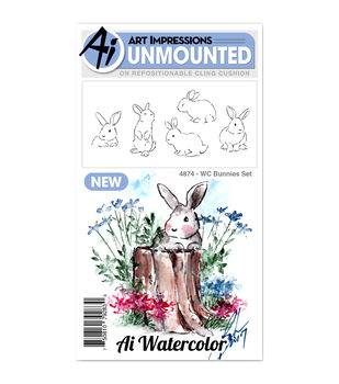 Art Impressions 5 pk Cling Rubber Stamps-Watercolor Bunnies