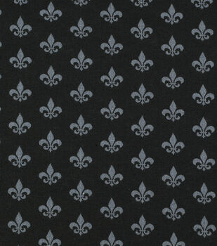 Mardi Gras Cotton Fabric-Fleur De Lis Black