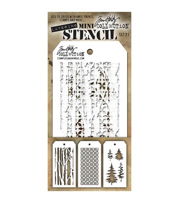 Stampers Anonymous Tim Holtz 3 pk Mini Layering Stencil Set #21