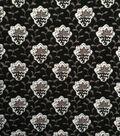 Knit Apparel Fabric -Black Gray Vine Foulard