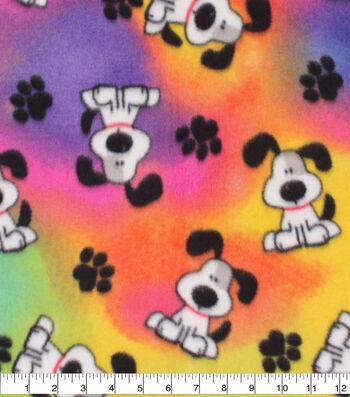 Anti-Pill Plush Fleece Fabric-Spot Pup On Tie Dye