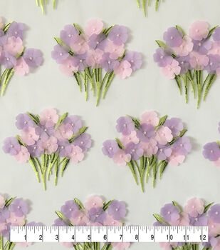 Sew Sweet Dahlia 3D Embroidered Flower Bouquet Fabric-Purple