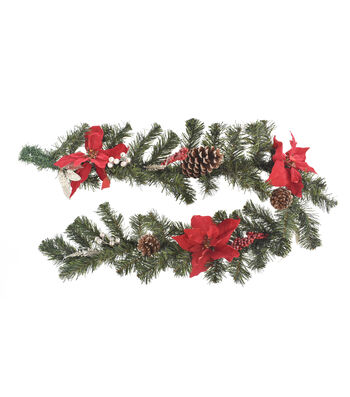 Blooming Holiday Christmas Pine, Pinecone & Red Poinsettia Garland