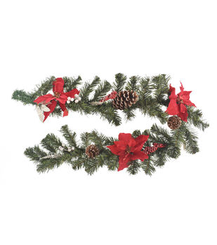 blooming holiday christmas pine pinecone red poinsettia garland