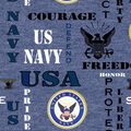 Navy Fleece Fabric-Heather Logo