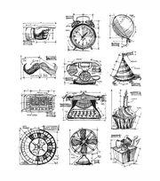 Tim Holtz Large Cling Rubber Stamp Set-Mini Blueprints 4, , hi-res