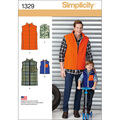 Simplicity Pattern 1329A S - L / S -Men Boy Tops Vests