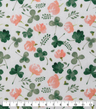 St. Patrick's Day Cotton Fabric-Flowers & Clovers