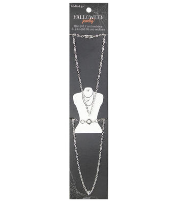 hildie & jo Halloween 2 Pack Layering Silver Chain Necklaces