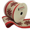 Handmade Holiday Ribbon-Red Glitter Snowflakes on Natural with Red Edge