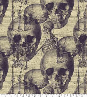 Halloween Cotton Fabric-Warnings Sketch on Cream