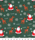 Holiday Cotton Fabric -Santa and Reindeer