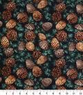 Cotton Fabric -Pine on Black