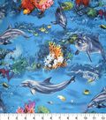 Novelty Cotton Fabric -Dolphins & Coral