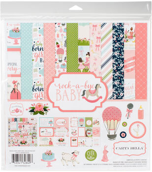 Carta Bella Paper Company Rock-A-Bye Baby Girl Collection 12''x12'' Kit